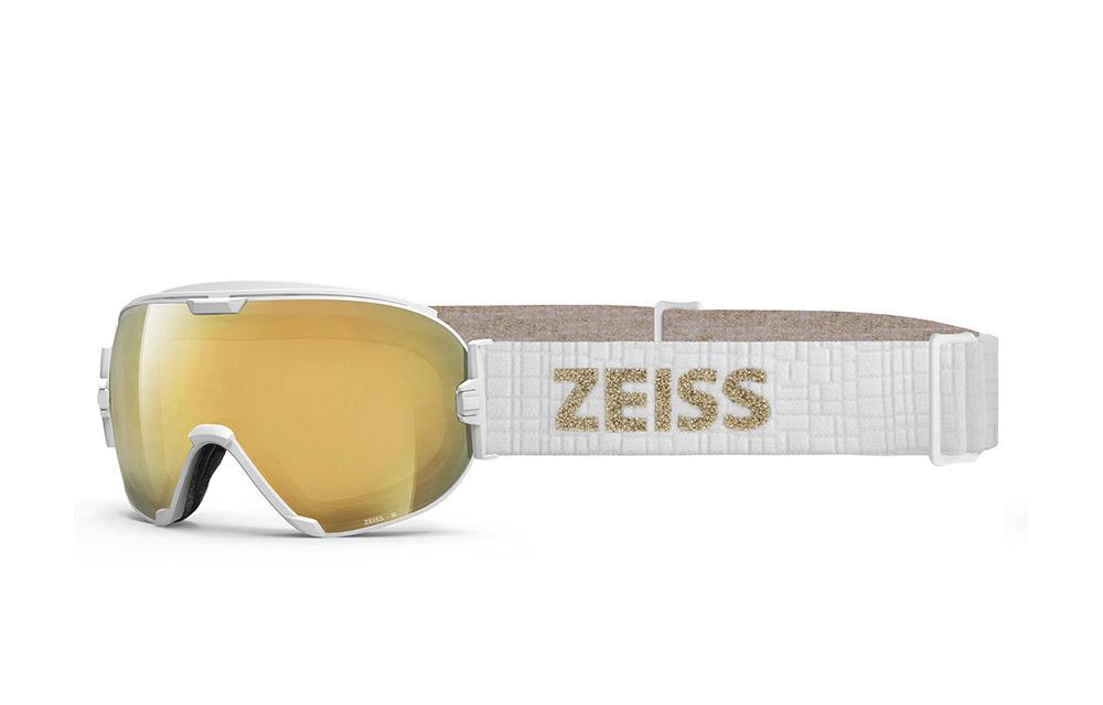 Maschera Sci Snowboard ZEISS – White ML Gold + Lente Intercambiabile Sonar Orange