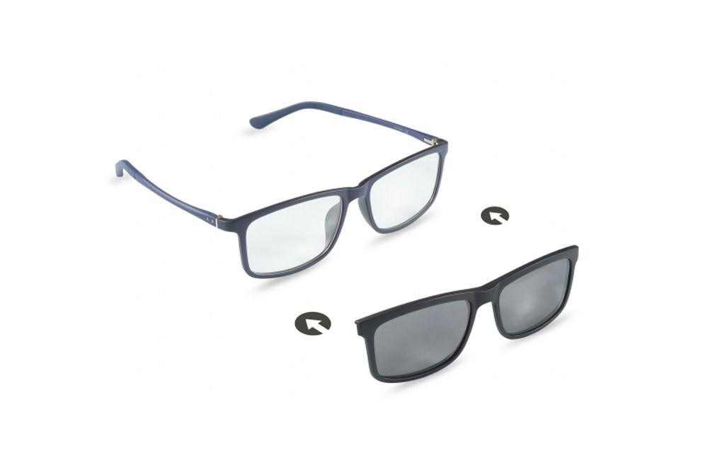 Occhiali da vista + sole – ZIEL Duetto V47 – Montatura Blu-Nero