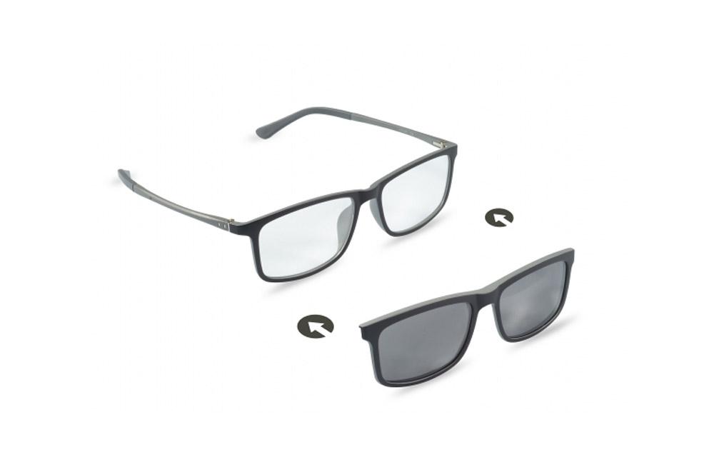 Occhiali da vista + sole – ZIEL Duetto V47 – Montatura Nero-Grigio