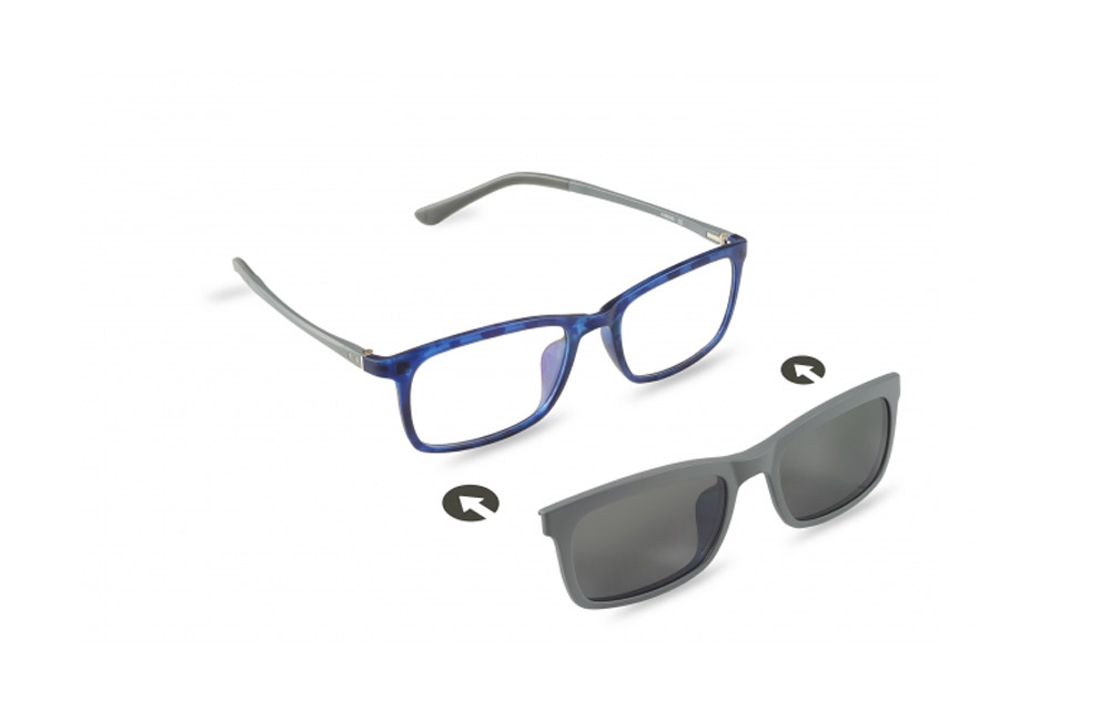 Occhiali da vista + sole – ZIEL Duetto V48 – Montatura Blu maculato – Grigio