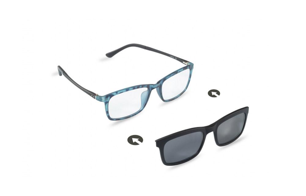 Occhiali da vista + sole – ZIEL Duetto V48 – Montatura Blu maculato – Nero