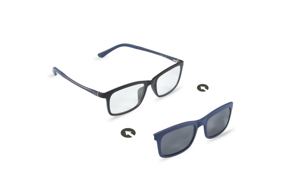 Occhiali da vista + sole – ZIEL Duetto V48 – Montatura Nero-Blu