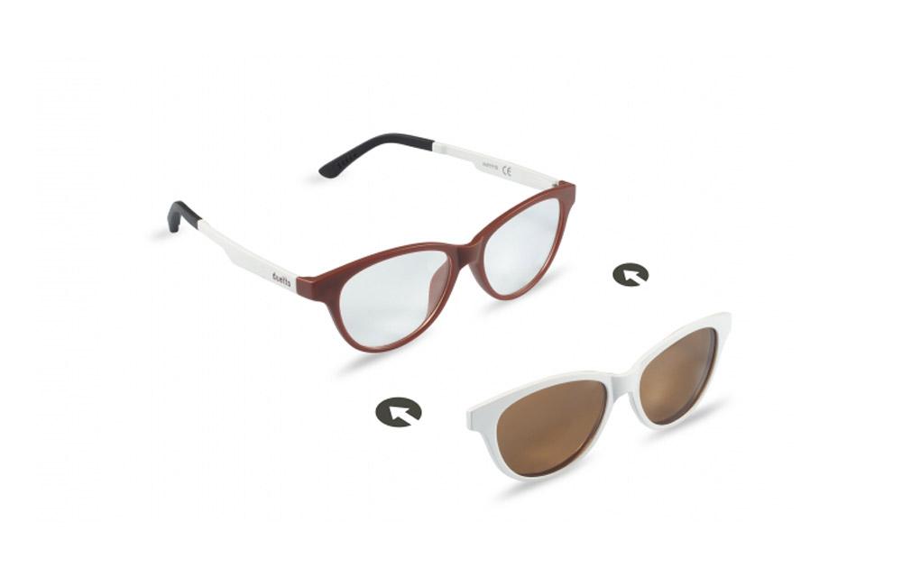 Occhiali da vista + sole – ZIEL Duetto V49 – Montatura Marrone chiaro – Bianco