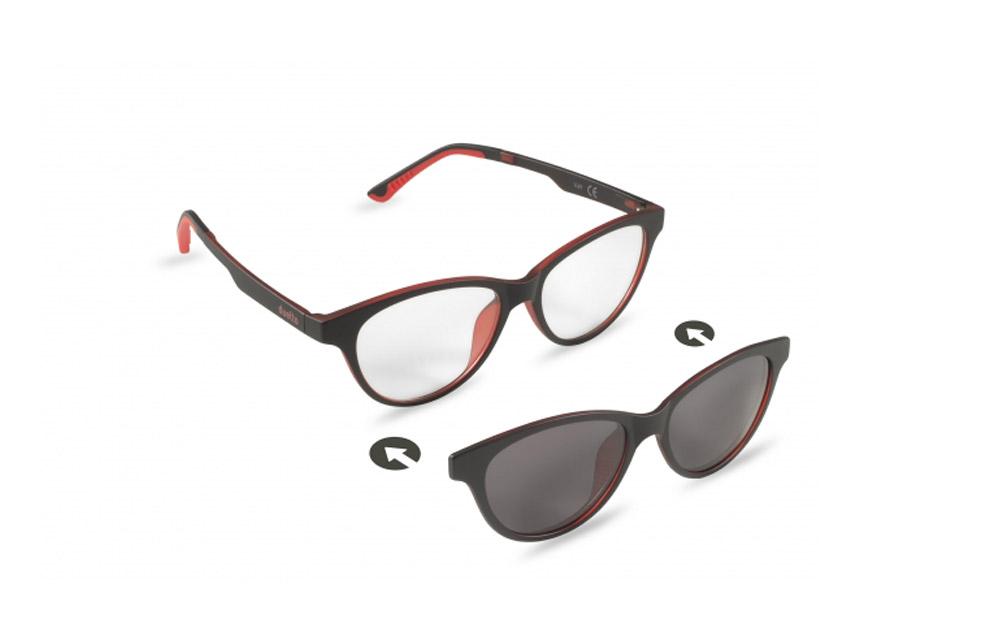 Occhiali da vista + sole – ZIEL Duetto V49 – Montatura Nero-Rosso