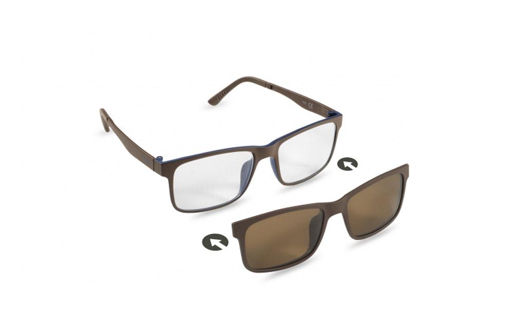 Occhiali da vista + sole – ZIEL Duetto V52 – Montatura Marrone-Blu