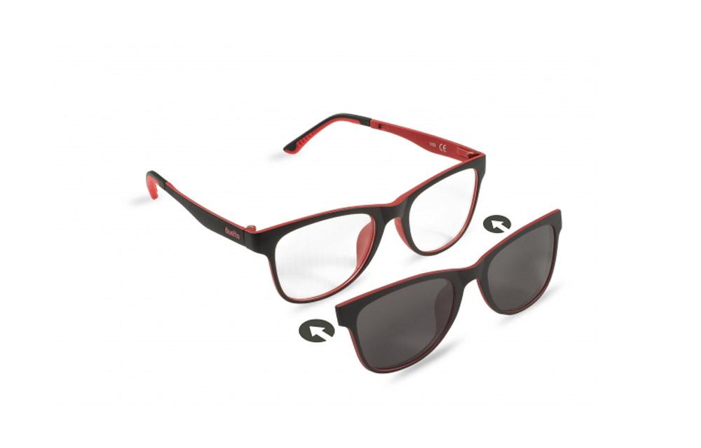 Occhiali da vista + sole – ZIEL Duetto V53 – Montatura Nero-Rosso