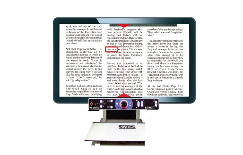 VOCATEX PLUX videoingranditore da tavolo con sintesi vocale – FULL HD 27″