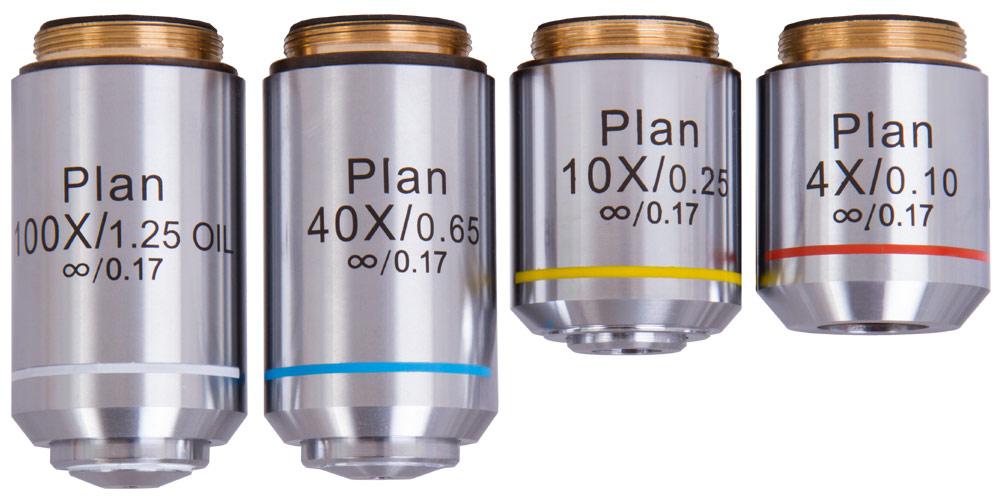 Set di obiettivi piani Levenhuk 1000, 4x, 10x, 40xs, 100xs (olio)